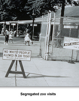 "Photograph of a ""No White People Allowed in the Zoo Today"" sign taken at the Memphis Zoo by Ernest Withers in the 1950s.  Even visits to the zoo were segregated.  Blacks had only one day a week they could visit the zoo while whites could go on the other week days."