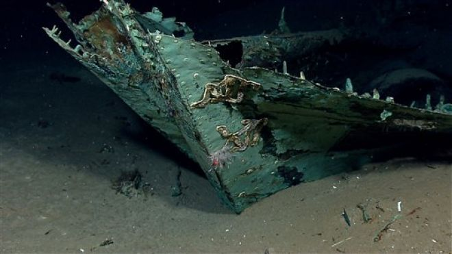 April 26, 2012. In this photo provided by NOAA Okeanos Explorer Program, a well preserved shipwreck is seen about 200 miles off the coast of La., at a depth around 4,000 feet, in the Gulf of Mexico. (AP)