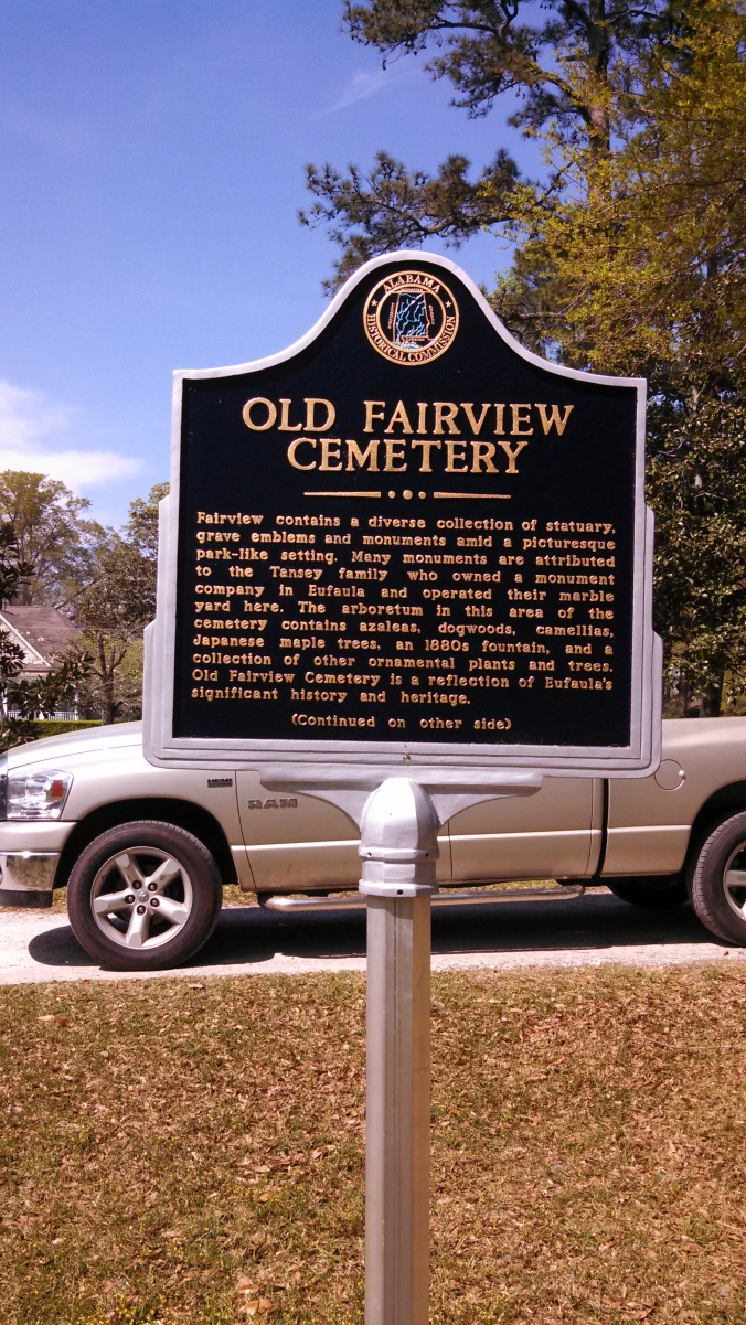Fairvew contains a diverse collection of statuary, grave emblems  and monuments amid a picturesque park-like setting.  Many  monuments are attributed to the Tansey family who owned a  monument company in Eufaula and operated their marble yard  here. The arboretum in this area of the cemetery contains azaleas,  dogwoods, camellias, Japanese maple trees, and 1880s fountain,  and a collection of other ornamental plants and trees. Old  Fairview Cemetery is a reflection of Eufaula's significant history  and heritage.