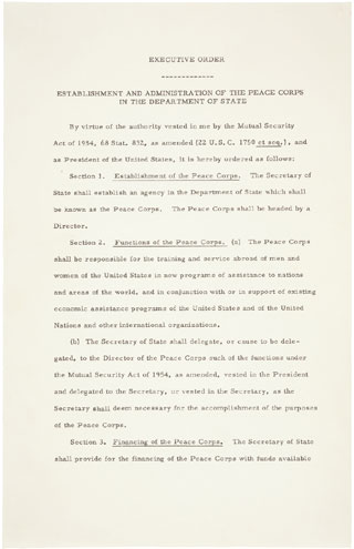 Executive Order 10924, Establishment and Administration of the Peace Corps in the Department of State, March 1, 1961; General Records of the United States Government; Record Group 11; National Archives.