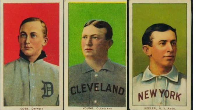 "Among the early 20th Century baseball cards sold in the first phase of the ""Portland trove"" auction were these Hall of Famers, from left: Ty Cobb, Cy Young and Willie Keeler. (Saco River Auctions)"